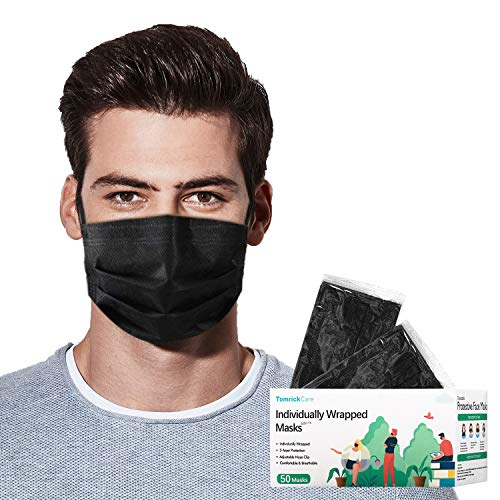 50 PCS Black Disposable Face Mask, Black Disposable Face Mask Individually Wrapped, Melt-Blown Fabric 3 Layer Face Mask, Breathable Face Masks for Women Men Protective Anti-Dust Safety Masks