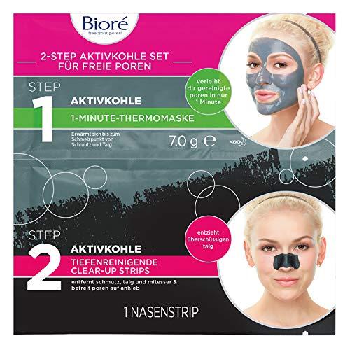 Bioré dubbele set met actieve kool – 6 x elk 1 neusclear-up strip en 1 verwarmend gezichtsmasker van 1 minuut, verpakking van 6 stuks