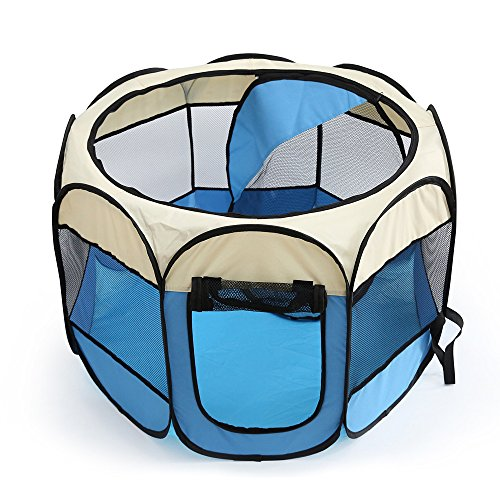 Tineer Portable Haustier-Katze-Hundekäfig-Kennel-Zelt-Bett-Laufstall-faltbares im Freien kampierendes Haustier-Hundezelt-Haus (S:72×72×45cm, Sky Blue)