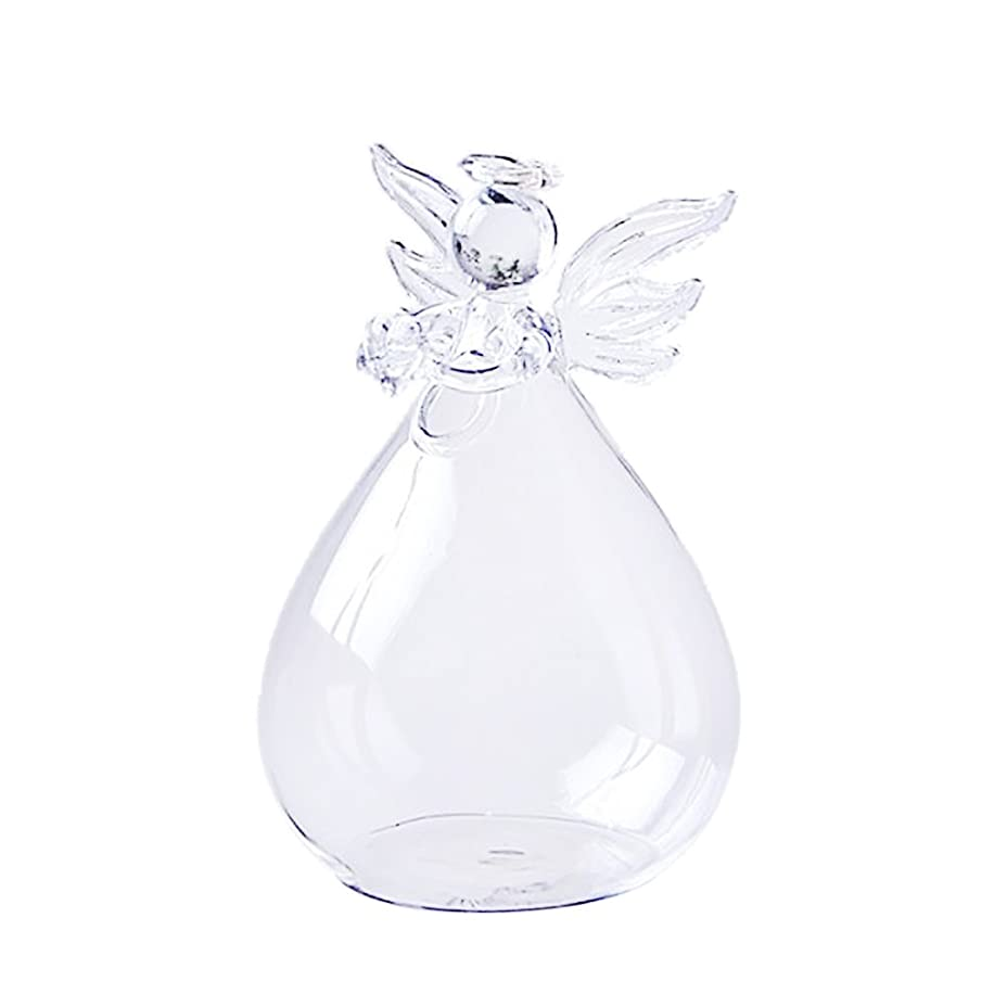 悔い改めレベル策定するノーブランド品 植物 花 装飾用 天使 クリア ガラス 壁掛け 花瓶 ボトル 水耕栽培 12cm