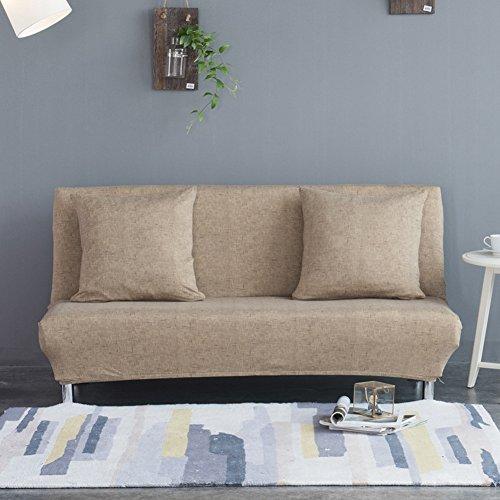 Sofabezug für Klappsofas ohne Armlehnen, mit Leinenmuster, einfarbig, Stretchmaterial, Polyester/Elasthan, khaki, M:160-195CM