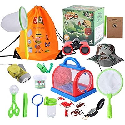 JVJQ Outdoor Explorer Kit – Bug Catching Kit - Nature Exploration Kit with Binoculars, Flashlight, Compass, Magnifying Glass, Butterfly Net - Great Toys Kids Gift for Boys– 3-12 Year Old Children from JVJQ bug catching kit