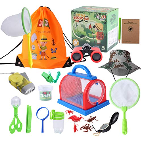 JVJQ Outdoor Explorer Kit – Bug Catching Kit - Nature Exploration Kit with Binoculars, Flashlight, Compass, Magnifying Glass, Butterfly Net - Great Toys Kids Gift for Boys– 3-12 Year Old Children