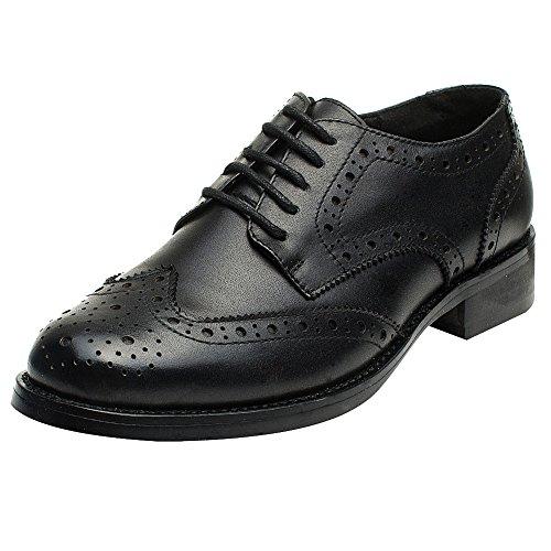 Rismart Mujer Brogue Dedo del Pie Puntiagudo Puntas De ala Oxfords Zapatos De Cordones
