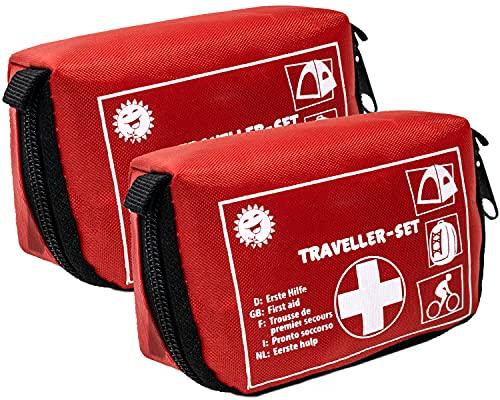 Selldorado 2 x 32 piezas primeros auxilios Traveller – Maletín de emergencia ideal para actividades al aire libre, bicicleta, camping, viajes, deportes, botiquín doméstico