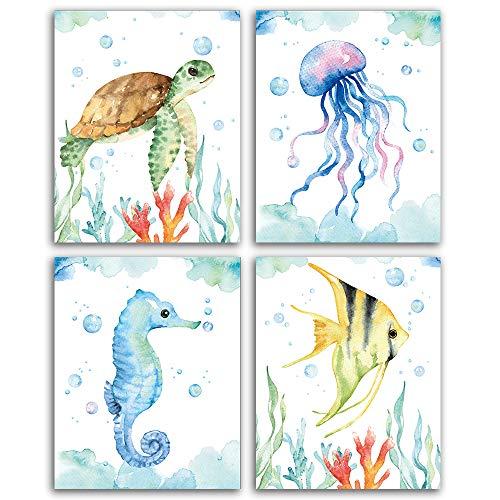 "SUUURA-OO Texture of Dreams Watercolor Sea marine life Art Print Set of 4 (8""X10""), Sea Turtle Seahorse fish Wall Poster, Blue Ocean Theme Baby Nursery Kids Room Wall Decor"