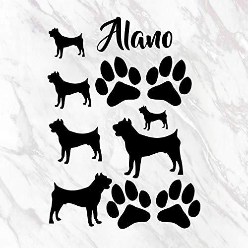 myrockshirt Hunderasse Silhouette& Pfötchen Set A4 Format Pfoten Alano Aufkleber Autoaufkleber Sticker Wandtattoo Hunde Hund