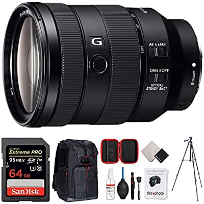 Sony FE 24-105mm F4 G OSS E-Mount Full-Frame Zoom Lens (SEL24105G) + 64GB Accessories Bundle Includes, 64GB SDXC Memory Card, Photo Camera Sling Backpack, 60 Video Tripod and All-in-One Cleaning Kit from Sony