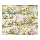 YIEASY Mouse pad Rabbit Vintage Flower Bunny Jasmine Mousepad with Stitched Edge Premium-Textured Mouse Mat Non-Slip Rubber Base Mousepad for Laptop Computer & PC, 9.8 x 11.8 x 0.12 inches