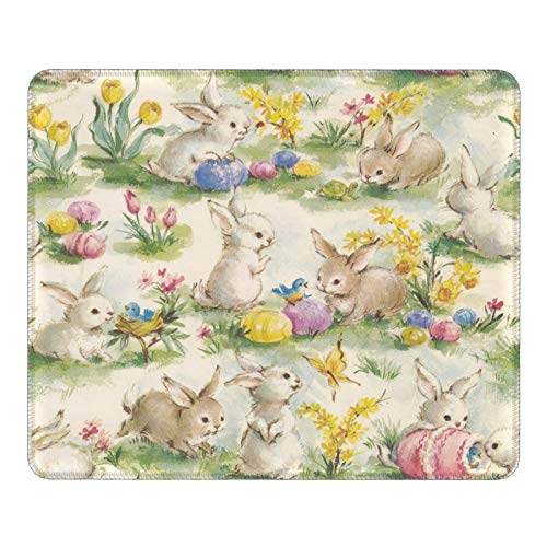 Mouse Pad Vintage Flower Rabbit Bunny Easter Mouse Mat, Non-Slip Gaming Mat Office Mousepad Game Custom Dormitory Rubber Printed for Pc Laptop Computer 9.8 X 11.8 inch Durable Soft
