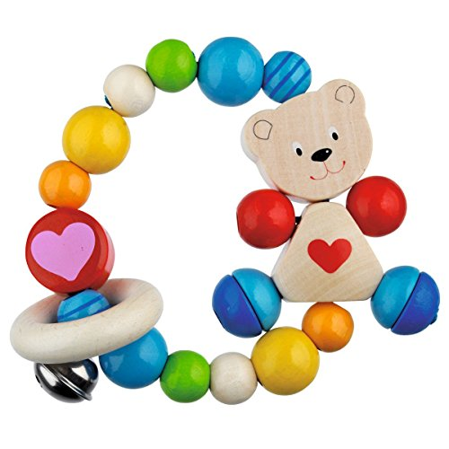 solini Greifling Teddybär - Babyspielzeug & Motorik-Trainer - mit elastischem Greifling, bunten Holzelementen & einer Glocke - ab Geburt - bunt