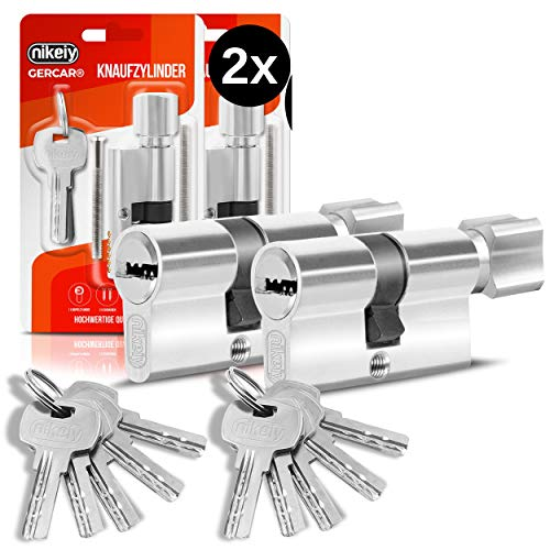 GERCAR Knaufzylinder Gleichschließend 2 Stück Schließzylinder Profilzylinder 35/35 Türschloss - inkl. 10 Schlüssel - Zylinderschloss mit Knauf - Länge: 70mm , A:35 B:35 - 2er Set