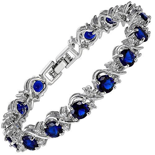 RIVA Blume Tennis Armband [18cm/7inch] mit Rundschliff Edelstein Zirkonia CZ [Blau Saphir] in 18K Weißgold Vergoldet, Einfache Moderne Eleganz