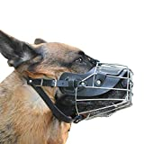 YOON Indestructible Dog Muzzle for Medium to Large Dogs Wire Basket Adjustable Leather Straps German Shepherd Rottweiler Doberman Metal Dog Muzzle Breathable Drinkable Pets Mouth Cover (L)