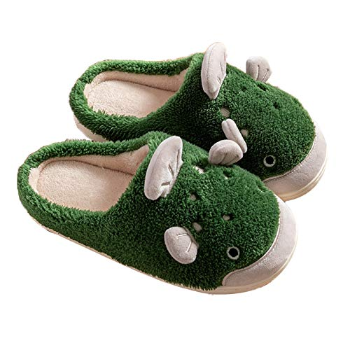 Ladies' Cosy Memory Foam Slippers, Cute Fish Slippers with Warm Fuzzy Faux Fur Lining Home Slippers Anti-Slip Rubber Sole for Indoor/Outdoor,Green,39/40 EU