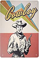 RCY-T Texas is My Happy Place Cowboy Riding Horse ブリキサイン Vintage bar Restaurant Cafe Garage Home Wall Decoration 金属錫サイン 8 x 12 inches-Vintage Cowboy-12 X 8 inch
