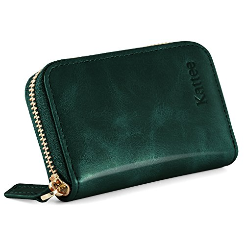 Kattee Women's RFID Blocking Small Compact Credit Card Holder Leather Zipper Pocket Wallet