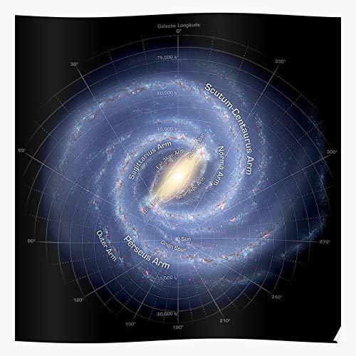Milky Stars Planets Moons Galaxy Way Map Maps Impresionantes carteles para la decoración de la habitación impresos con la última tecnología moderna sobre papel semibrillante