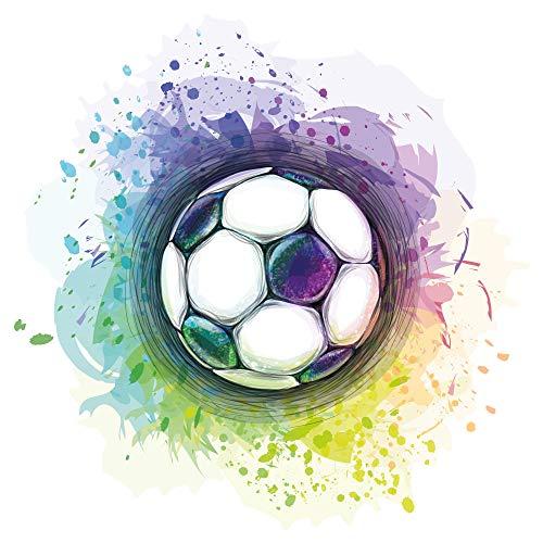 dekodino® Wandtattoo Fußball bunt Jugendzimmer Teenager Junge Deko Aquarell