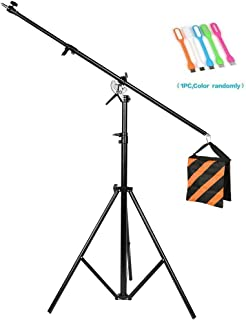 CONXTRUE Max 13.2ft/400cm Two Way Rotable Aluminum Adjustable Tripod Boom Light Stand with Sandbag for Studio Photography Video +CONXTRUE UBS LED Free Gift