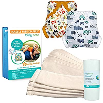Tidy Tots Diaper Hassle Free 4 Diaper Snap Essential Set with Hippo and Forest Friends Covers