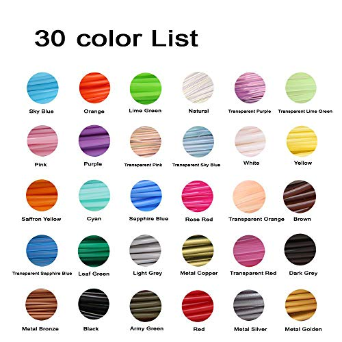 3D Penna Filamento Ricarica PLA 30 Colori, 3M Ogni Colore, Totale 90m - Aishtec 1.75mm PLA Fliament Set per la Stampa 3D, 3D Stampante