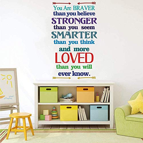 Inspirational Quote Wall Decals Kids Motivational Wall Decor Sticker You are Braver Than You Believe Positive Wall Saying for Playroom Classroom