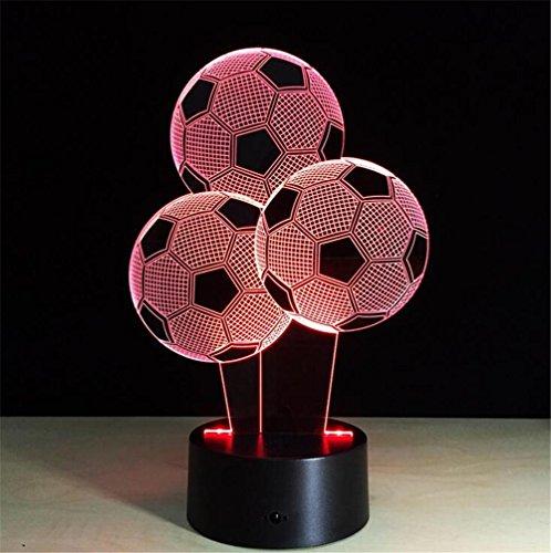LUCKY GODDESS 3D LED Lampe de Football Optique Illusion Nuit lumière Decor lumières Tableau visuel Lampe à télécommande