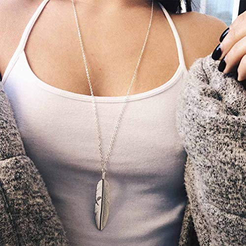 Brinote Boho Long Sweater Necklace Chain Feather Pendant Necklaces Jewelry for Women and Girls (Silver)