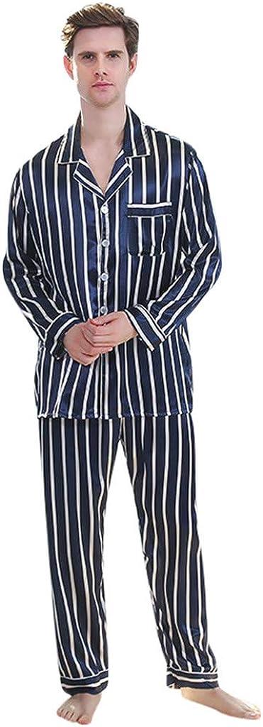 Men Striped Pajamas Set Long Sleeve Button Down Set Sleepwear Nightwear Casual Soft Loungewear Pjs Sets