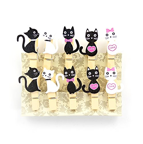 Oblique-Unique® Kleine Mini Holz Wäscheklammern Holzklammern Deko Klammern mit Motiv - wählbar (Katzen)