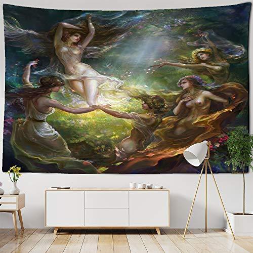 Diosa pintura tapiz de tela colgante de pared poliéster fino sofá manta arte tapiz mantón de yoga cojín