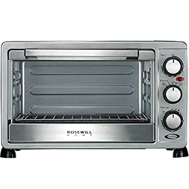 Rosewill 6 Slice Convection Toaster Oven Countertop, Stainless Steel, Large Capacity for 12 Inch Pizza with Bakeware Pan Broiler Rack RHTO-17001