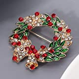 Round Shape Christmas Style Brooch Clothes Accessory Christmas Style Brooch, Rhinestone Jewelry Gift Collar Pin Brooch, for Girl Women Girlfriend Friends