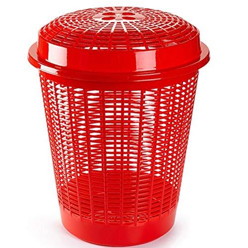 Pongotodo redondo con tapa, Cestos para la colada, Cesta para ropa 45,5 x 45,5 x 57,5 cm varios colores para elegir qué preferida (Rojo)