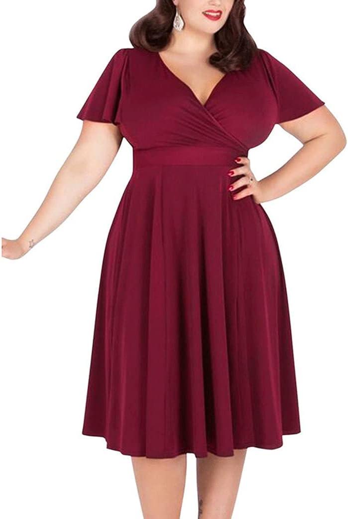 Women's Dresses Women's Plus Size Fat Dress Fat MM Slim Dress (Color : Red, Size : XXX-Large)