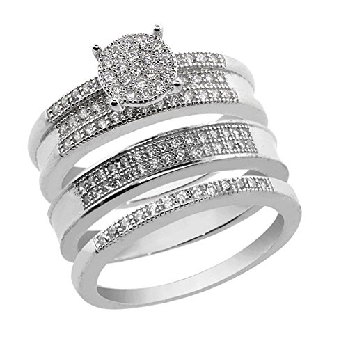 Gem Stone King His and Hers 3 Pieces Sterling Silver and CZ Engagement Wedding Trio Set Band