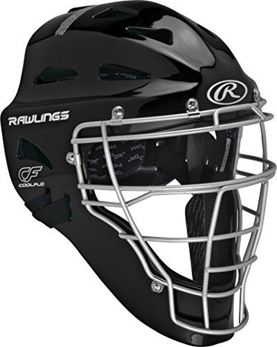 Rawlings Adult Renegade Coolflo Hockey Style Catcher's Helmet, 7 1/8 - 7 3/4, Black/Silver