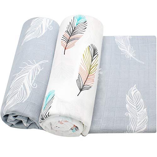 LifeTree Musselin Swaddle Wickeldecke Baby, 100% Weicher Größe Baby Decke, 2 Stück 120x120cm Swaddle Wraps Krankenpflege Receiving Decken für Neugeborene Jungen oder Mädchen