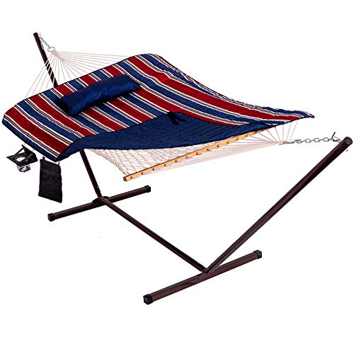 Lazy Daze Hammocks 12 Feet Steel Hammock Stand with Cotton Rope Hammock Combo,Quilted Polyester Hammock Pad and Pillow, Red/Navy Blue Stripes