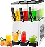 TECSPACE 110V Commercial Beverage Dispenser Cold and Hot ,3 Tanks 30L 9.5 Gallon, Stainless Steel Fruit Juice Beverage Machine 270W Ice Tea Drink