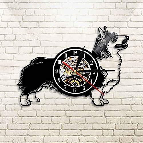 N / A 3D-7 Farbe Licht-USB-Cardigan Welsh Corgi Hund Schallplatte Wanduhr Haustier Zeit Hund Liebhaber Geschenk Tier Wand Künstler Home Decoration