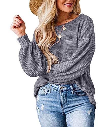 Zarjar Damen-Pullover, Strick, schick, hohl, unregelmäßig, locker, Fledermausärmel Gr. Medium, Grau 2