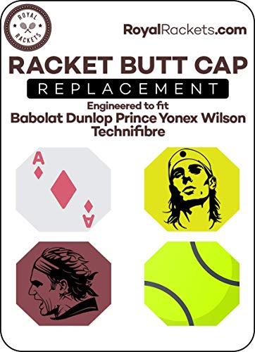 Tennis Racket Butt Cap Replacement 4 Piece Original Fit and Look for Babolat, Wilson and More! (Tennis Pack)