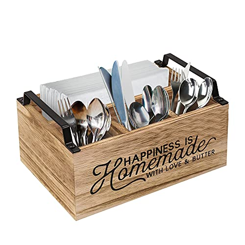 Kitchen Countertop Utensil Holder, Rustic Kitchen Utensil Caddy, Flatware Caddy and Silverware Organizer, Wood Utensil Caddy for Kitchen Countertop Organizer