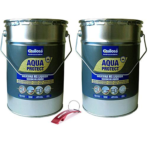 QUILOSA - Pack Silicona MS liquida Quilosa Aqua Protect 2 botes de 5kg Edición especial Bricolemar con llavero abrebotellas (Terracota)