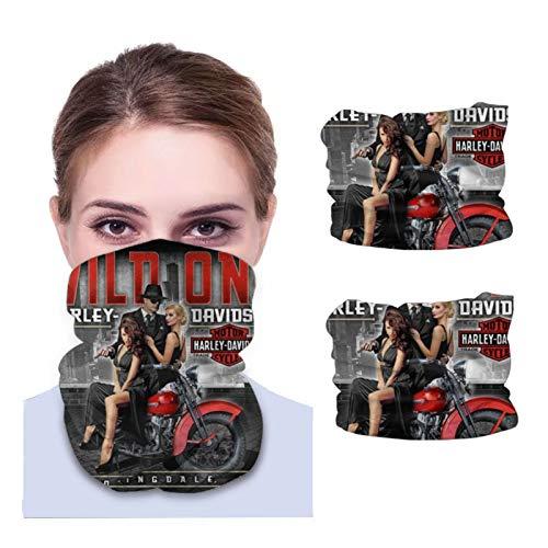 ONLED Calentador de cuello de microfibra para adultos, bandana para la cara, polaina para el cuello, bufanda para la cabeza, transpirable, suave, 2 piezas logotipo de Harley Davidson