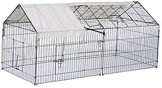 Tidyard Outdoor Iron Small Animal Cage with Protective Cover Large Pet Enclosure Rabbit Chicken Hoop Cat Walk in Play Run House Heavy Duty Wire Mesh Pet Supply 87.75 x 40 x 40.5 Inches (L x W x H)