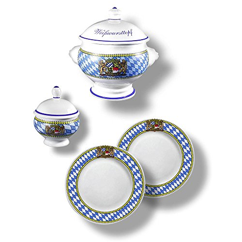 4-teiliges Bayerisches Weißwurst-Set mit Rautenrand bestehend aus Weißwurst-Terrine BZW. Weißwurst-Topf 1l, Senf-Topf und 2 Weißwurst-Tellern