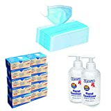 Pack of 500Single Use Disposable Face Mask, 2 FREE Hand Sanitizer 8 Oz, Bottles included, Sanitizer Made in USA, 3-Ply Facial Cover Masks with Ear Loop